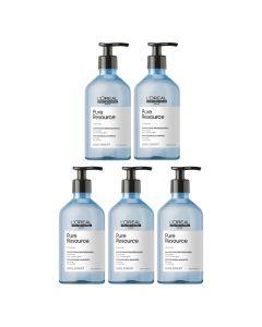 5x L'Oréal Serie Expert Pure Resource Shampoo 500 ml